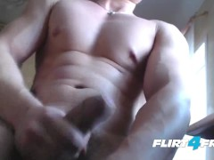 Flirt4Free Guys - Harry Flirt Shows Off His Muscles, Tight Ass and Big Uncut Cock