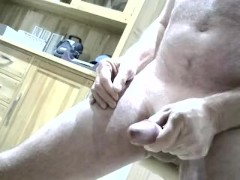 A quick cum shot from my rampant shaved cock