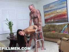 : BLUE PILL MEN - Grandpa Popping Pills and Fucking Tight Latina Teen Pussy!