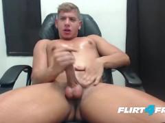 Flirt4Free Hunky Blond Model Scott Simon Gets Off in His Favorite Chair