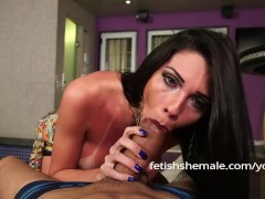 Pretty Tranny with Tan Lined Tits Gives Sweet Blowjob