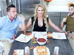 FamilyStrokes - Horny Stepmom Fucks Stepson & Dad For Thanksgiving