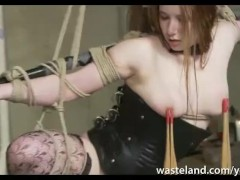 Bound and Hanging Submissive Auburn Haired Babe Dominated in Funkadelic Disco Vibrator and Dildo Action