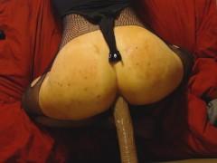Bubble butt crossdresser twink can't handle big black cock