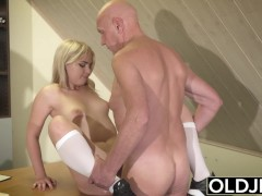 Barely Legal Teen Riding Old Man Cock and Sucking his balls swallows cum