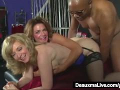 - Mature MILFS Deauxma &amp; Nina Hartley Share A Big Black Cock!/><br/>                         <span class=