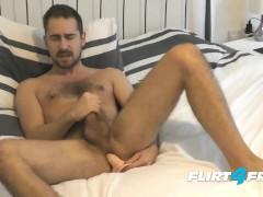 Flirt4Free Model Antonio West - Bearded Lad Blows a Big Load on His Hairy Abs While Pounding His Ass