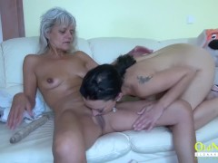 - OldNannY Two Mature Lesbians and Glass Dildo/><br/>                         <span class=