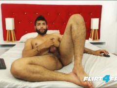 Flirt4Free Model Ecio Murphy - Hairy Stud Fingers His Ass and Shoots a Big Load
