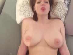 Amateur Redhead with Big Titties Gets Face Full of Cum