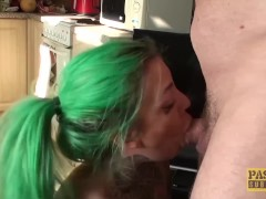 Inked subslut destroyed by maledom before tasting his cum
