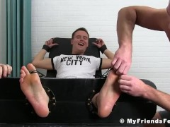 Nathan Justice getting tickle tormented while he is tied up