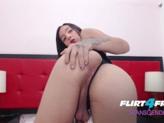 Flirt4Free Transgender Model Pamela Lyn - Gorgeous Shemale with Perfect Petite Body Eats Her Own Cum