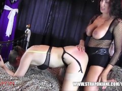 Femdom Strapon Jane fucks horny lesbian peach ass slut with massive strapon cock until her pussy is so wet and moist