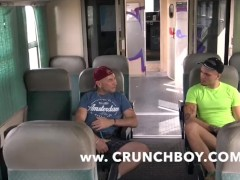 straight guy fuck bareback a gay in public train