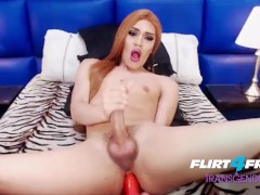 Flirt4Free Transgender Model Selena Thomas - Sexy Tranny Cums on Dildo and Slides in Her Ass
