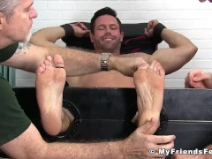 Sexy muscle Joey tied up and tickled like crazy