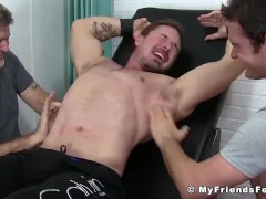 Muscular stud tickled with toys until he goes crazy