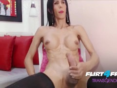 Flirt4Free Transgender Model Nata Rose - Babe Trans Girl Twerks Her Big Ass and Strokes Her Fat Cock
