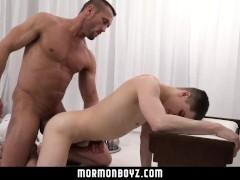 MormonBoyz - Daddy Fucks Twink Bareback In Office