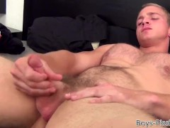 Hairy blond hunk masturbates while pissing on himself