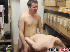 Young Euro workers bare fucking in a lunch time threesome