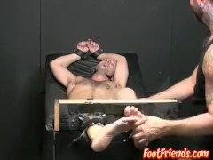 Restrained stud goes through crazy tickle torment