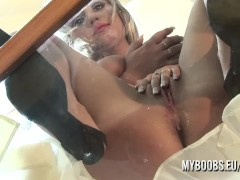 Busty Wendy Star ride on dildo on glass floor