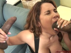 Hot girl Renae Cruz in a black cock sandwich threeway
