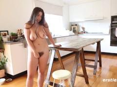 Hairy Babe Nora Fucks Dildo on Kitchen Table - ersties