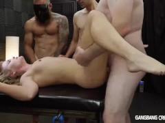Skinny blonde gets gangbanged by the cocksmen