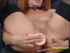 Sexy redhead with extremely wet pussy fucks ten inch dildo