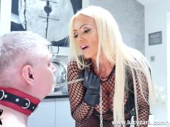 Mistress Lucy Zara in kinky fishnets whips and ruins her pathetic old slave in his last bondage session ever
