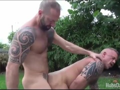 HubxDaddy Strong muscular bear sex by the garden pool