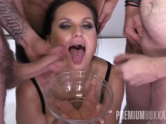PremiumBukkake - Barbara Bieber swallows 48 big loads in gangbang bukkake