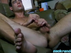 Hot and freaky Zack Randall masturbates with anal play