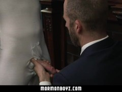 MormonBoyz - Priest leader barebacks young nervous boy