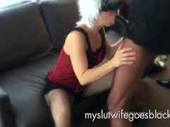 MYSLUTWIFEGOESBLACK Blonde Wife Blowing Huge Black Cock with red Lips