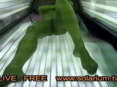 Hot Horny Girl Playing Pussy on Real Public Solarium Live Voyeur Hidden Spy cam