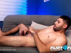 Flirt4Free Model Jerome V - Bearded Latino Slurps Cum Off His Own Feet