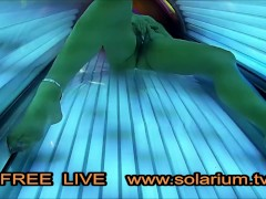 Hot Horny Girl with Big Tits Masturbating in Public Tanning Salon. Real Hidden Webcams on Tanning Bed filmed all.
