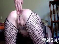 Annas gargantuan anal dildo penetrations
