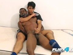 Flirt4Free Models Tairon and Alexandro - Ebony Stud in Army Garb Flexes While Latino Buddy Gives Him a Nice Reach Around Handjob