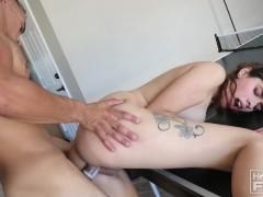Big Cock Stud FUCKS Tiny Nerdy Teen And She Screams