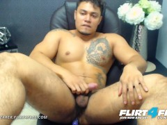 Flirt4Free Model Allen Ferrer - Latino Hunk with Hairy Pubes Jerks His Cock