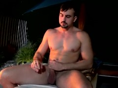 Beefy Mason Lear strokes dick solo while smoking