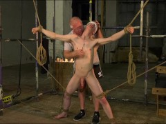 Young gay Alex Faux restrained for rough anal play