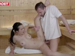 LETSDOEIT - Nasty Brunette Seduces and Fucks Stranger in the Sauna