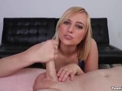 Sexy blonde babe handjob