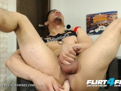 Flirt4Free Model Alexanders L - Athletic Gay Hispanic Slides a Dildo in His Ass